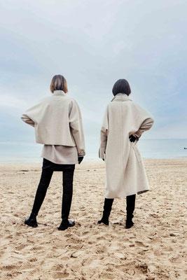 Left: Longsweater 3072-41, Jacket 323-10. Right: Coat 303-10