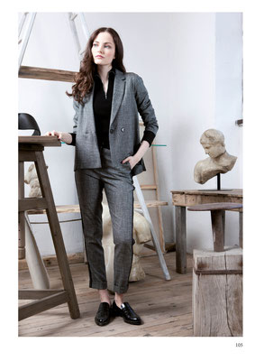 BLAZER: 2072 TWIST; PANTS: 2073 OISEAU; SWEATER: 2039 JULIETTE