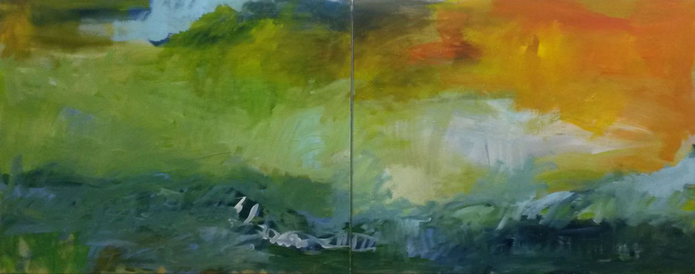 Genesis, 2014, Acryl auf Leinwand, 80x160 cm