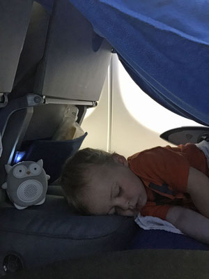 A Fly Tot tent - worked great to get baby to sleep on plane - Alesund to Calgary