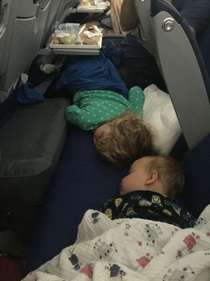 Fly Tot - two kids at once - flights Calgary to Oslo