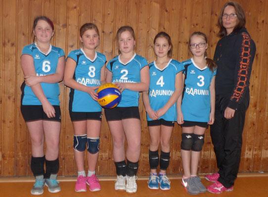 Team II mit Emily, Sophia, Carla, Matilda und Julie sowie Coach Nadine.