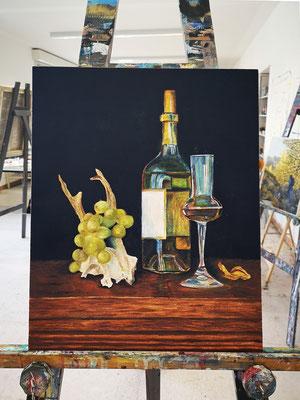 DULCE VITAE, 51 x 41 cm, Öl auf Leinwand, 2021 unfertig