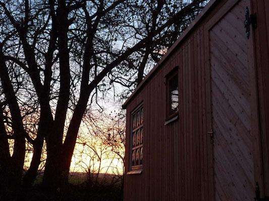Den WIntergarten nach Osten, sodass ich die Sonne aufgehen sehen kann.