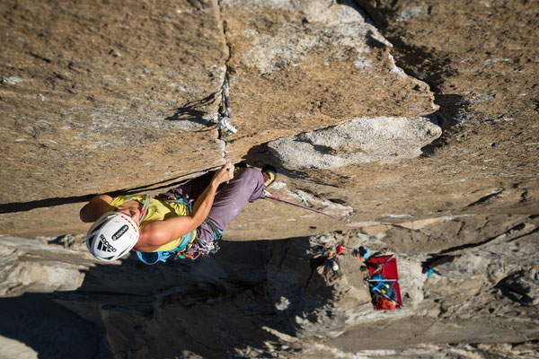 Alexandra climbing the crux pitch 'Beak Flake' 5.13b. Picture by Johannes Ingrisch @adidas outdoor