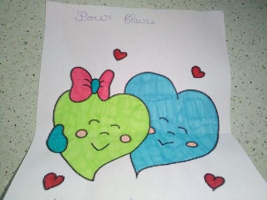 Coloriage d'enfant: des cœurs