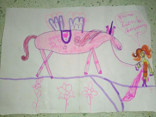 Dessin d'enfant, dame et cheval
