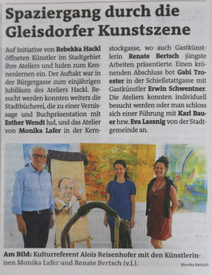 Weizer Woche (Gleisdorf), Nr. 25, 20./21.Juni 2018, S. 50 und https://www.meinbezirk.at/weiz/lokales/einblicke-in-die-gleisdorfer-kunstszene-d2693768.html