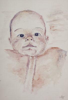 1998_Moni mit 6 Monaten_20x30cm_Gouache_Papier