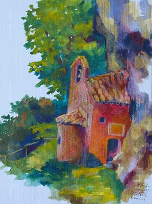 2021_7_21_Chiesetta San Michele bei Braulins_32x24cm_Aquarell_Buntstift_Papier