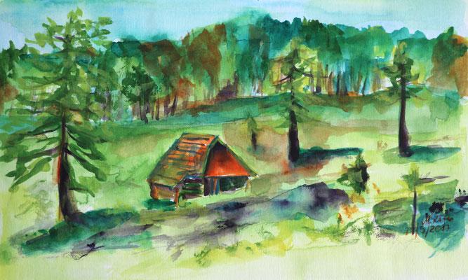 2017_Viehweide beim Katerloch_14x23cm_Aquarell_Papier