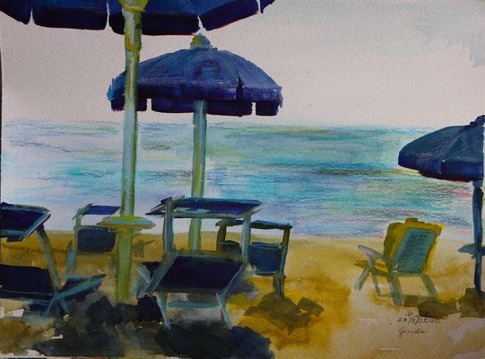 2020_Am Strand von Grado_24 x 32cm_Aquarell_Buntstift_Papier