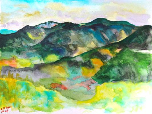 2017_Blick vom Sattelberg zur Roten Wand_24x32 cm_Aquarell_Papier