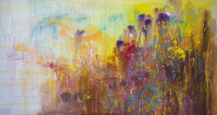 2017_Farben des Vorfrühlings_70x150cm_Acryl_Baumwolle