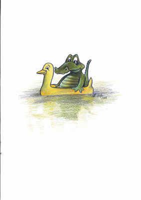 2014_Das Krokodil im Ossiachersee_20x25cm_Bunstift_Papier