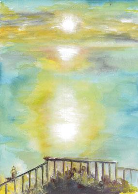 2014_Sonnenuntergang auf Anacapri_30x20cm_Aquarell_Gouache_Papier