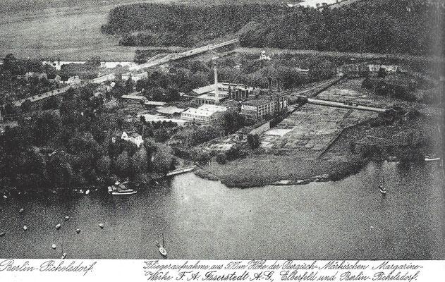 Luftaufnahme Berlin Pichelsdorf mit Margarinefabrik und Brachland. Im Hintergrund die Heerstraße mit Freybrücke.