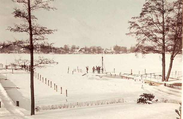 Rammarbeiten auf der verschneiten Scharfen Lanke im Januar 1968