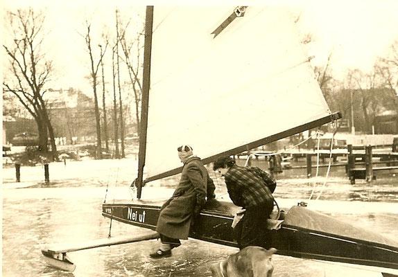 Eissegeln an der Scharfen Lanke 1954