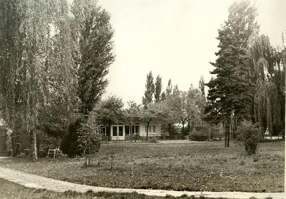 Blick von der großen Wiese auf die Kantine 1954