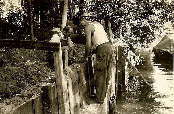Arbeiten an der großen Slipanlage 1958