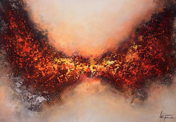 Im Feuer 100x70cm,  Acryl, Sandstruktur auf Leinwand. Galeriekeilrahmen 04/2015