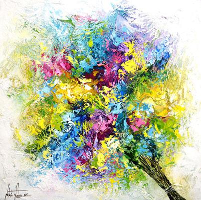 Blumen sprechen 10, Acryl, Papierstruktur auf Leinwand, Galereikeilrahmen 04/2015