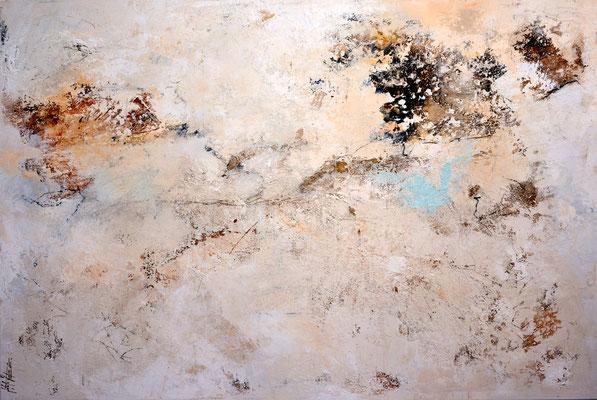Im Hintergrund, 180x120cm, Acryl, Sandstruktur, Kohle, Kaffee, Marmormehl auf Leinwand. Galeriekeilrahmen 06/2015
