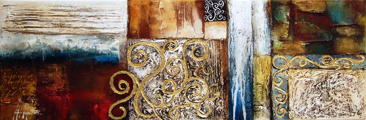 Orient 2, 120x40cm, Acryl, Sandstruktur, Blattgold auf Leinwand, Galeriekeilrahmen 01/2015