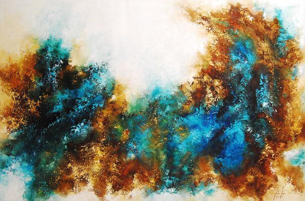 Hommage, 180x120cm, Acryl, Sandstruktur auf Leinwand, Galereikeilrahmen 02/2015