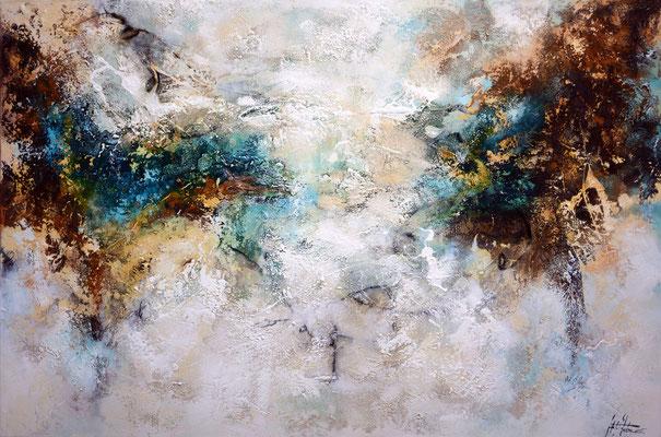 Gelegenheit 6, 180x120cm, Acryl, Sandstruktur, Kohle, Kaffee, Marmormehl auf Leinwand. Galeriekeilrahmen 06/2015