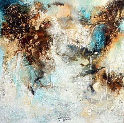 Gelegenheit 5, 80x80cm, Acryl, Sandstruktur, Kohle, Kaffee, Marmormehl auf Leinwand. Galeriekeilrahmen 06/2015