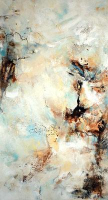 Gelegenheit 2, 180x100cm, Acryl, Acryl, Sandstruktur, Kohle, Marmohrmehl, Kaffeesatz auf Leinwand. Galeriekeilrahmen 03/2015
