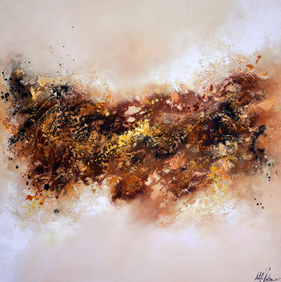 Mutter Erde, 90x90cm,  Acryl, Sandstruktur auf Leinwand. Galeriekeilrahmen 04/2015