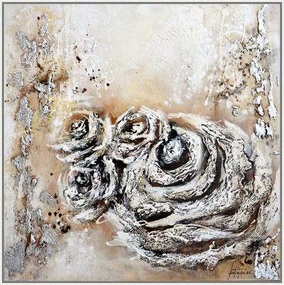 Elegancia, 90x90cm, Acryl, Sandstruktur, Blattsilber auf Leinwand. 1,8 cm Galeriekeilrahmen 06/2015