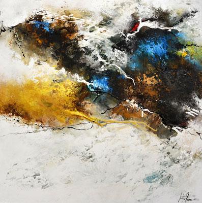 Blindes Verlangen, 100x100cm,  Acryl, Sandstruktur, Kohle auf Leinwand. Galeriekeilrahmen 03/2015