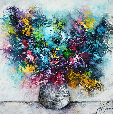 Lass  Blumen sprechen 10, 50x50cm,  Acryl, Papierstruktur auf Leinwand. Galeriekeilrahmen 04/2015