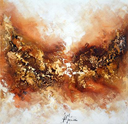 Goldader mini, 50x50cm, Acryl, Sandstruktur auf Leinwand. Galeriekeilrahmen 03/2015