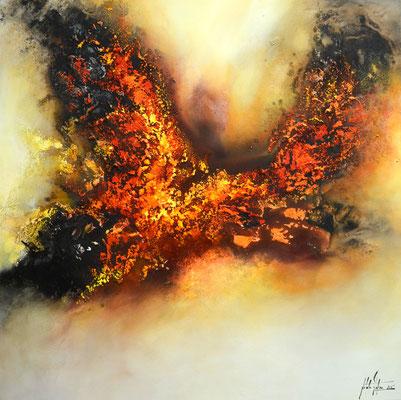 Feuervogel 100x100cm,  Acryl, Sandstruktur auf Leinwand. Galeriekeilrahmen 04/2015