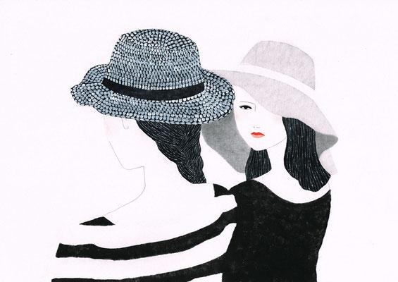 「モノクロ×赤」4:帽子のふたり