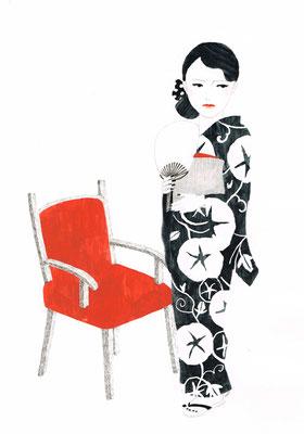 「モノクロ×赤」3:浴衣と椅子