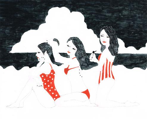 「モノクロ×赤」1:海水浴
