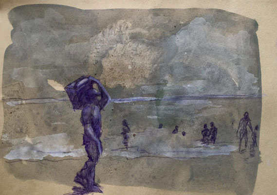 Stefania Fabrizi- disegno in cabina - tecnica mista su carta - 24/2/2108