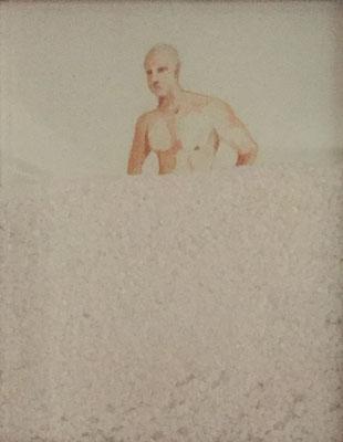 Ulisse coperto di sale, 2019 - acquerello su carta, sale marino; cm 26x34
