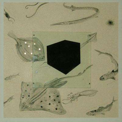 Scatola nera, 2006; grafite,acquerello su cartoncino,mosaico,vetro smaltato,luce; cm72x72