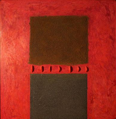 Quadrati neri, 2014 terracotta, limatura di ferro e olio su tavola cm 60x57