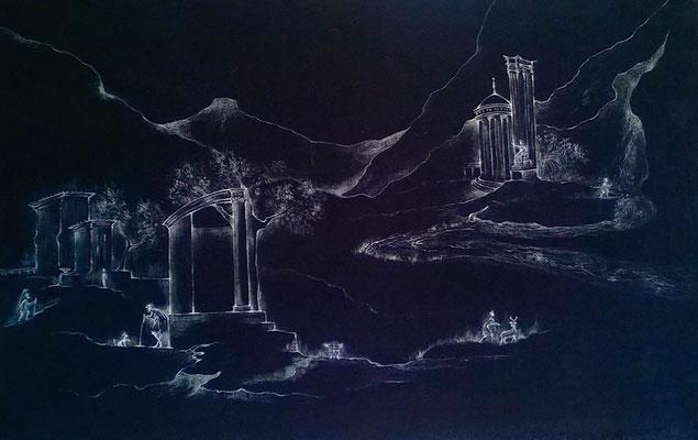 visioni antiche III, cm.80x60, acrilico fosforescente su velluto