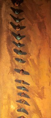 Colonna vertebrale, 2001 terracotta, limatura di ferro e olio su tela cm 240x42