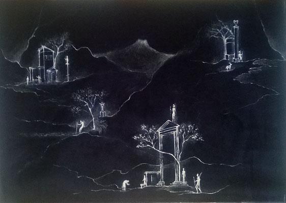 Visioni antiche I, cm.80x60, acrilico fosforescente su velluto
