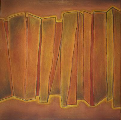 Palizzata, 2000 olio e pigmenti su tela cm 103x103